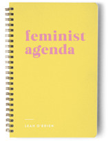 This is a pink journal by Erika Firm called Feminist Agenda with standard printing on premium cover stock in notebook.
