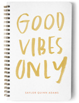 This is a pink journal by Annie Montgomery called The Vibes with standard printing on premium cover stock in notebook.