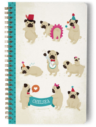 Pugs on Parade Day Planner, Notebook, or Address Book