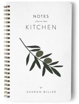 This is a white journal by Owl and Toad called Olive Branch Notes with standard printing on premium cover stock in notebook.