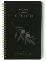 This is a black journal by Owl and Toad called Olive Branch Notes with standard printing on premium cover stock in notebook.