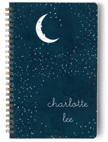 This is a blue journal by Kate Ross called Starry Moon with standard printing on premium cover stock in notebook.