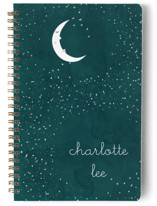 This is a green journal by Kate Ross called Starry Moon with standard printing on premium cover stock in notebook.