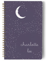 This is a purple journal by Kate Ross called Starry Moon with standard printing on premium cover stock in notebook.
