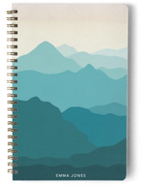 This is a blue journal by Basil Design Studio called Mountain Views with standard printing on premium cover stock in notebook.
