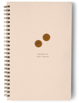 This is a beige journal by Baumbirdy called My Two Cents with standard printing on premium cover stock in notebook.