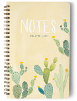 This is a yellow journal by Erika Firm called Prickly Pear Cactus Garden with standard printing on premium cover stock in notebook.