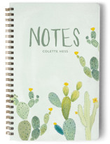 This is a green journal by Erika Firm called Prickly Pear Cactus Garden with standard printing on premium cover stock in notebook.