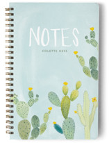 This is a blue journal by Erika Firm called Prickly Pear Cactus Garden with standard printing on premium cover stock in notebook.