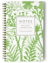This is a green journal by cambria called Wildflowers with standard printing on premium cover stock in notebook.