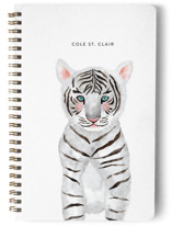 This is a green journal by Cass Loh called Baby Animal Tiger with standard printing on premium cover stock in notebook.
