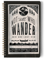 This is a black journal by Lori Wemple called Wander with standard printing on premium cover stock in notebook.