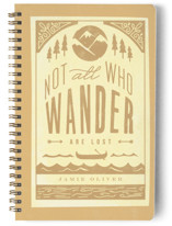 This is a gold journal by Lori Wemple called Wander with standard printing on premium cover stock in notebook.