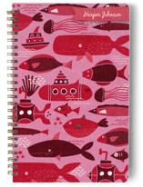 This is a red journal by Amiee Sue Designs called Sea Life Blue with standard printing on premium cover stock in notebook.