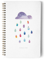 This is a purple journal by Lori Wemple called Rainbow Cloud with standard printing on premium cover stock in notebook.