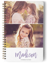 This is a purple journal by Laura Hamm called Two Up with standard printing on premium cover stock in notebook.