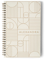 This is a brown journal by Iveta Angelova called Bauhaus Slate with standard printing on premium cover stock in notebook.