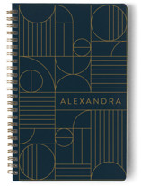 This is a blue journal by Iveta Angelova called Bauhaus Slate with standard printing on premium cover stock in notebook.