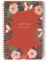 This is a orange journal by Cindy Reynolds called Peppy Peonies with standard printing on premium cover stock in notebook.