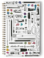 This is a black journal by Liz Conley called Paints And Pencils with standard printing on premium cover stock in notebook.