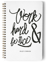 This is a white journal by Heather Francisco called Nice Work with standard printing on premium cover stock in notebook.