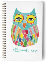 This is a blue journal by Pip Gerard called Watercolor Rainbow Owl with standard printing on premium cover stock in notebook.