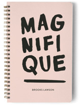 This is a pink journal by Marabou Design called Magnifique with standard printing on premium cover stock in notebook.