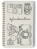 This is a beige journal by Morgan Kendall called Vintage Cameras with standard printing on premium cover stock in notebook.