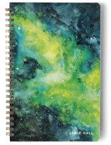 This is a yellow journal by Angela Garrick called Amongst The Stars with standard printing on premium cover stock in notebook.