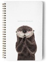 This is a green journal by Cass Loh called Baby Animal Sea Otter with standard printing on premium cover stock in notebook.