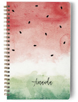 This is a red journal by Paula Pecevich called Watermelon Wash with standard printing on premium cover stock in notebook.