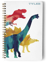 This is a colorful journal by Holly Whitcomb called Dinosaur Stomp with standard printing on premium cover stock in notebook.