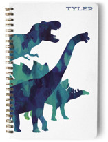 This is a blue journal by Holly Whitcomb called Dinosaur Stomp with standard printing on premium cover stock in notebook.
