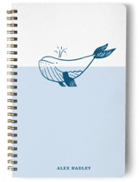 This is a blue journal by Erika Firm called Whale with standard printing on premium cover stock in notebook.