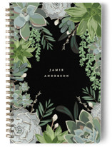 This is a black journal by Susan Moyal called Wild Succulents with standard printing on premium cover stock in notebook.