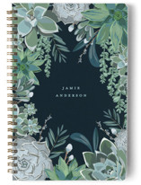 This is a blue journal by Susan Moyal called Wild Succulents with standard printing on premium cover stock in notebook.