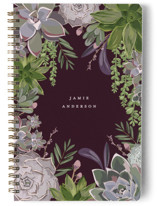 This is a purple journal by Susan Moyal called Wild Succulents with standard printing on premium cover stock in notebook.