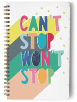 This is a pink journal by Katy Clemmans called Can't Stop with standard printing on premium cover stock in notebook.