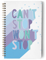 This is a blue journal by Katy Clemmans called Can't Stop with standard printing on premium cover stock in notebook.
