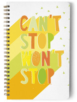 This is a yellow journal by Katy Clemmans called Can't Stop with standard printing on premium cover stock in notebook.