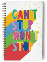This is a red journal by Katy Clemmans called Can't Stop with standard printing on premium cover stock in notebook.