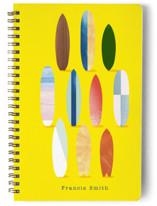 This is a yellow journal by Baumbirdy called Surfboard Pose with standard printing on premium cover stock in notebook.