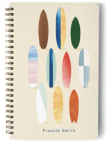 This is a beige journal by Baumbirdy called Surfboard Pose with standard printing on premium cover stock in notebook.