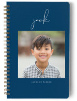 This is a blue journal by Lehan Veenker called Just Me with standard printing on premium cover stock in notebook.