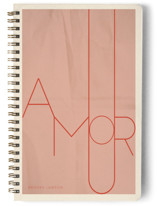 This is a beige journal by Morgan Kendall called Amour with standard printing on premium cover stock in notebook.