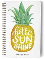 This is a yellow journal by Stardust Design Studio called Hello Sunshine with standard printing on premium cover stock in notebook.