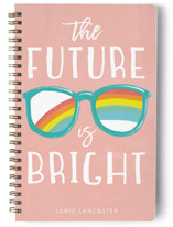 This is a pink journal by Sara Berrenson called Bright Future with standard printing on premium cover stock in notebook.