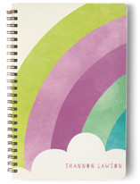 This is a pink journal by Lori Wemple called Bright Rainbow with standard printing on premium cover stock in notebook.