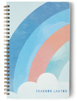 This is a blue journal by Lori Wemple called Bright Rainbow with standard printing on premium cover stock in notebook.