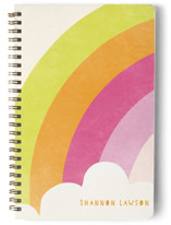 This is a yellow journal by Lori Wemple called Bright Rainbow with standard printing on premium cover stock in notebook.
